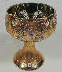 Rare Antique Moser Bohemian Czech Lidded Punch Bowl & 10 Cups Museum Quality