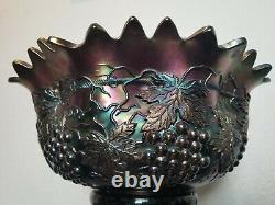 Rare Banquet HUGE 16 Northwood Grape Cable punch bowl Cups Stand