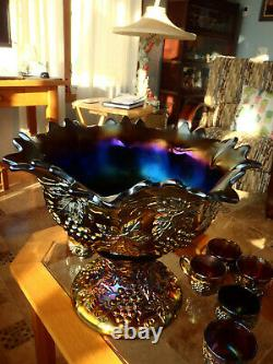 Rare Banquet Size Northwood Grape Cable Punch Bowl 10 Cups Stand Mint AMETHYST