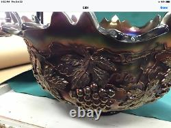 Rare Banquet Size Northwood Grape Cable punch bowl Cups Stand mint