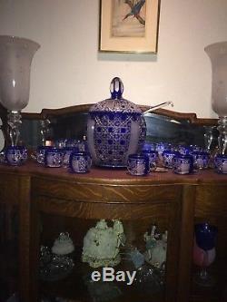 Rare Bohemian Cobalt Blue Cut To Clear Crystal Punch Bowl Set