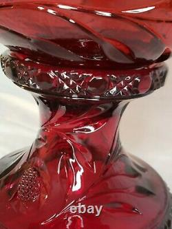 Rare Cambridge Wild Rose Ruby Carmen Red Punch Bowl Glass With Stand