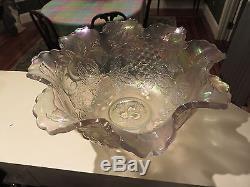 Rare Dugan Carnival Glass WHITE 13 x 6 Many Fruits Ruffled Punch Bowl 1911 NR
