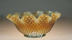 Rare Fenton Art Glass Company Aqua Opalescent Carnival Glass Hobnail Punch Bowl