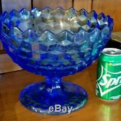 Rare Fostoria American / Libochovice Blue Footed Pedestal Punch Bowl