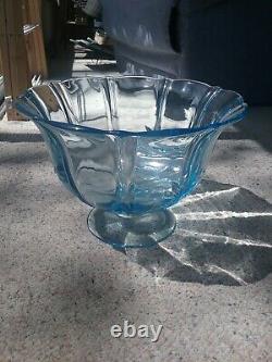 Rare Fostoria Baroque Blue Punch Bowl