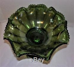 Rare Imperial Carnival Glass Green Flute Colonial Punch Bowl & Base 393