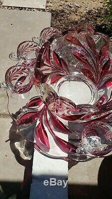 Rare Indiana Glass Ruby Flash red Leaf Oleander Willow Punch Bowl Underplate cup