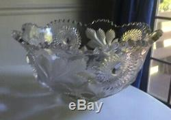 Rare Millersburg Hobstar & Frosted Feather Large Punch Bowl Gorgeous Pattern