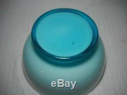Rare Murano Carlo Moretti Cased Glass Punch Bowl Set 9 Cups withLadle Aqua Blue