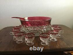 Rare Set Vintage Whitehall Ruby Flash American 13 1/8 Punch Bowl/12 cups/Ladle
