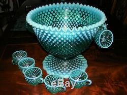 Rare Vintage Fenton Aqua Opal Hobnail Cre Punch Bowl, Base & 12 Cups