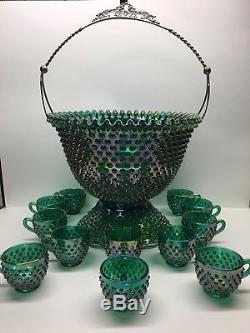 Rare Vintage Fenton Green Carnival Hobnail Punch Bowl Stunning