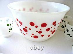 Rare Vintage Hazel Atlas Polka Dot Tom & Jerry Punch Bowl Set With 10 Cups Mint