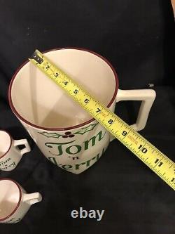 Rare Vintage Winfield Ware TOM N JERRY Eggnog Punch Bowl set with 6 Mugs