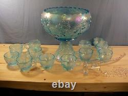 Rare Westmoreland Ice Blue Carnival 3 Fruits Punch Bowl Set with 12 Cups CLEARANCE