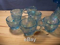Rare Westmoreland Ice Blue Carnival 3 Three Fruits Punch Bowl Set with 12 Cups