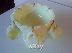 Rare Westmoreland Vaseline Glass Fan & File, Thumbelina, Child's Punch Bowl set