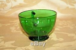 Retro Anchor Hocking Style Festive Forest Green Glass 10 Punch Bowl & 10 Cups