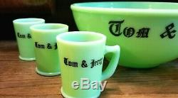 SCARCE McKee Tom & Jerry JADEITE Punch Bowl & 6 Punch Cups / Mugs