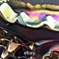 STUNNING IRIDESCENT Northwood MEMPHIS AMETHYST Carnival Glass 7 piece Punch Set
