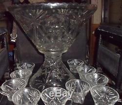 STUNNING Vintage Star of David Crystal Glass Punch Bowl Set with 12 cups