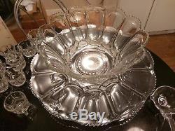 SUPER Gorgeous Antique 12 Cup Punch Bowl on Platter. Cups. Ladle. All Original