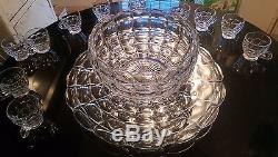 SUPER RARE Antique 12 Cup Punch Bowl on Platter with Footed Cups. All Original