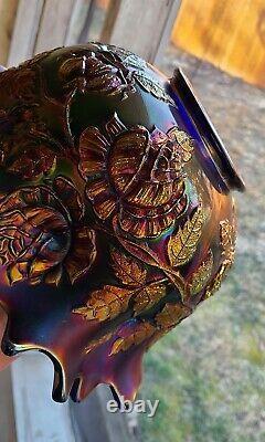 SUPER RARE ELECTRIC BLUE Fenton Wreath of Roses Punch Bowl & Base BEAUTIFUL