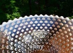 Scarce Duncan Miller Opalescent Hobnail Pink Opalescent Punch Bowl Cup 15 Pc Set