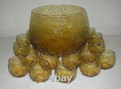 Seneca Glass DRIFTWOOD Yellow 16 pc Roly Poly Crinkle Punch Set Bowl 10 QT