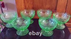 Set Lot 6 Uranium Vaseline Depression Glasses ORNATE Punch Delicate Glass RARE