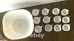 Set of Vtg Hazel Atlas Williamsport Milk Glass Square Punch Bowl 12 Square Cups