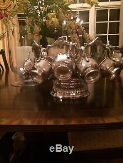 Sheffield Punch Bowl Nathaniel Smith Siversmith + 12 Sheffield Siver Punch Cups