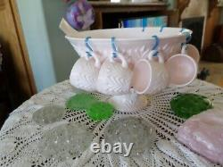 Shell Pink Milk Glass Absolutely Lovely Punch Bowl Cups Ladle Perfect with hangers