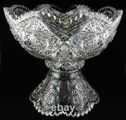 Signed Hoare ABP American Brilliant Period Cut Glass Punch Bowl & Base A+ Condit