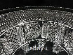 Signed Yasemin Cut Glass Punch Bowl or Vase 15.5 Quality Turkish Repro VF