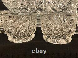 Smith Daisy And Button Pressed Glass Complete Punch Bowl Set 18 Cups