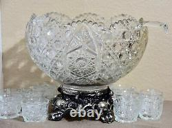 Smith Daisy and Button Clear Punch Bowl 14pc Set