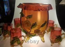 Stourbridge England VICTORIAN Applied FOOTED CRANBERRY PUNCH BOWL 5 Footed Cups