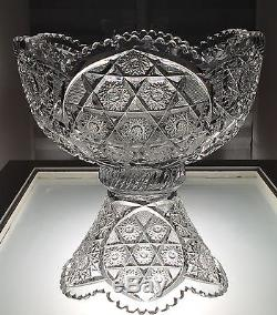 Straus Macy's American Brilliant Period ABP Cut Crystal Punch Bowl & Stand Sweet