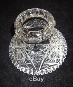 Stunning 2 Pc Pedestal Base American Brilliant Cut Glass Crystal ABP Punch Bowl