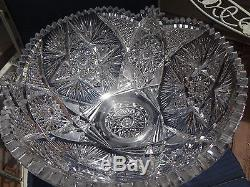 Stunning 2 Pc Pedestal Based Cut Glass/Crystal ABP Punch Bowl