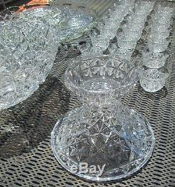 Stunning 26 Pc Pedestal Base Cut Glass Crystal ABP Punch Bowl Set Diamond Design
