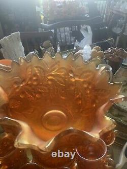 Stunning Antique Northwood Acorn Burrs Marigold 14 Pc Punch Set Just Beautiful