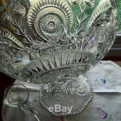 Stunning EAPG Slewed Horseshoe Punch Bowl And Stand Circa 1908