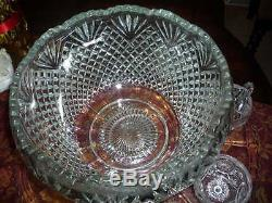 Stunning Heavy Antique Glass 20-24 Cup Punch Bowl with Platter