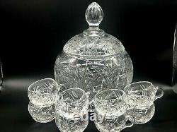 Stunning High Quality Czech Bohemian Cut to Clear Lidded Punch Bowl withCups