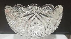 Stunning Huge Antique ABP Cut Glass 12 Punch Bowl + Pedestal Large Star Pattern