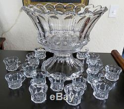 Stunning Large Heisey 15 Punch Bowl with stand & 16 cups Colonial 300 Pattern
